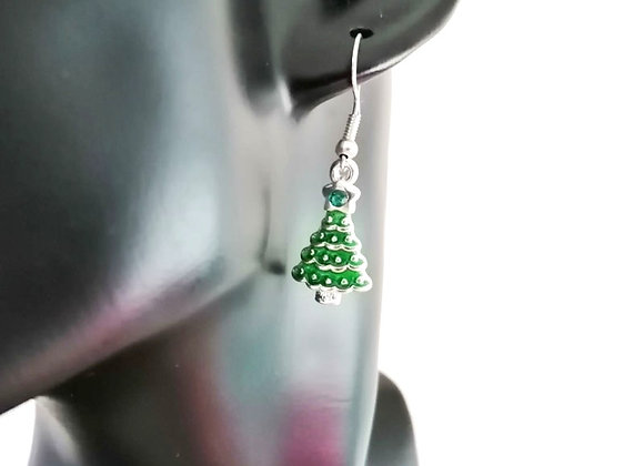 Christmas Earrings Kit - Green Tree with Rhinestone