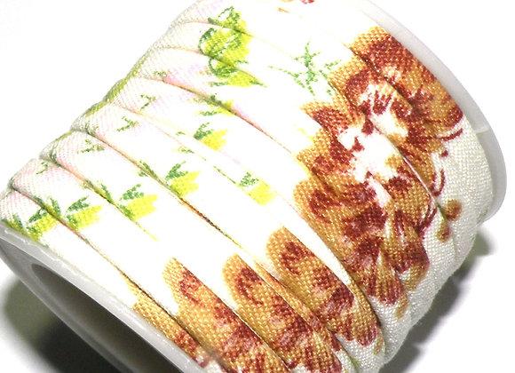 Flat Fabric Cord -  Cream/Beige Floral Print