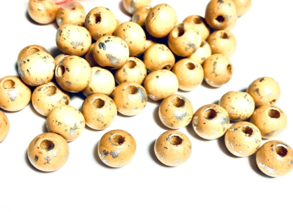 Natural/Silver Fleck Wooden Bead 8mm - Pack of 50
