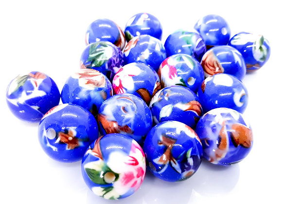 Large Round Bead 22mm - Blue Floral