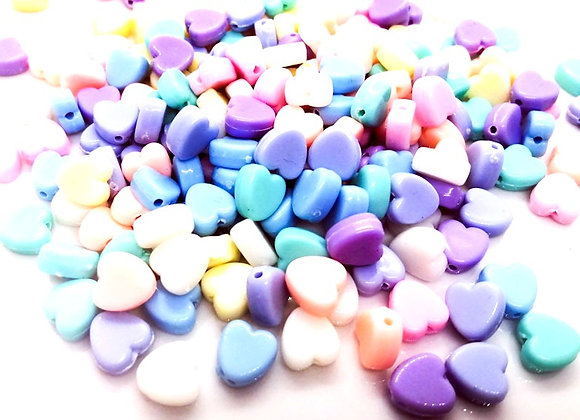 Small Heart Beads 8mm - Pastel Mix - Pack of 50