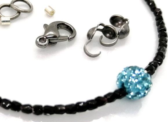 Bracelet Kit - Black &  Rhinestone