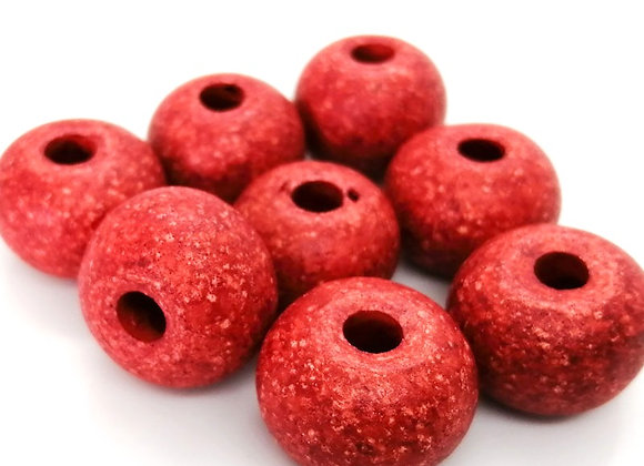 Stone Washed Ceramic Beads - 20mm Red Pack of 8