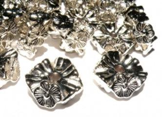 CCB Flat Textured Flower Slice Bead 16mm - Silver