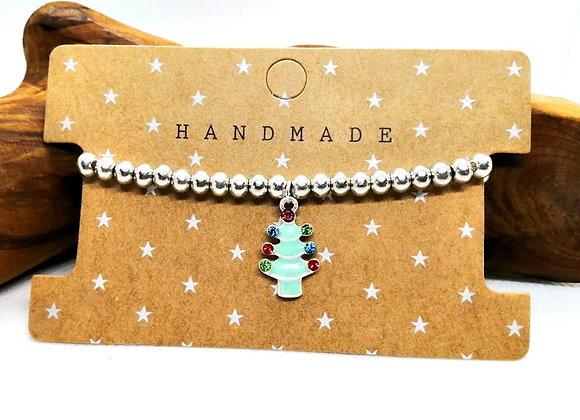 Christmas Bracelet Kit - Aqua Tree with Rhinestones