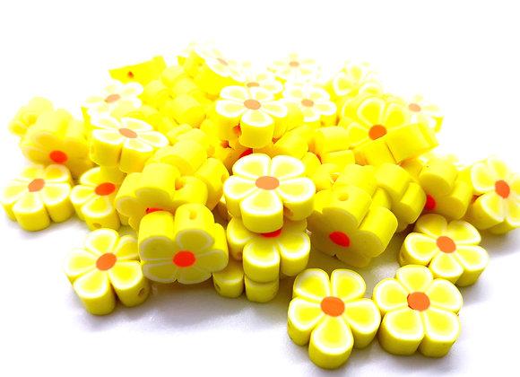 Handmade Clay Yellow Daisy Flower Beads Pack of 25