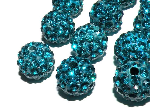 Polymer Clay Rhinestone Bead Grade A Crystals Dark Turquoise Pack of 10