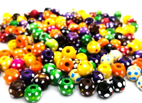Assorted Colour Dotty Wooden Beads 10mm - Pack of 20 Mixed