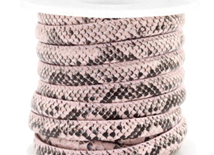 Stitched Faux Leather 6x4mm Snake Light Pink