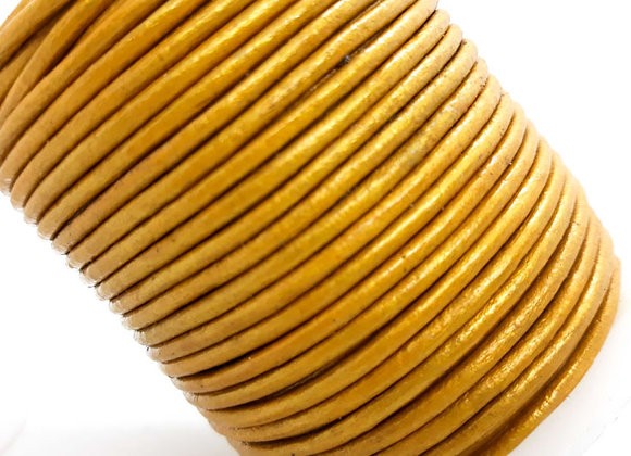 Metallic Gold Indian Round Leather 2mm