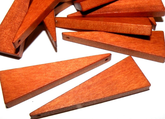 Large Wood Triangle Beads 41mm - Brown