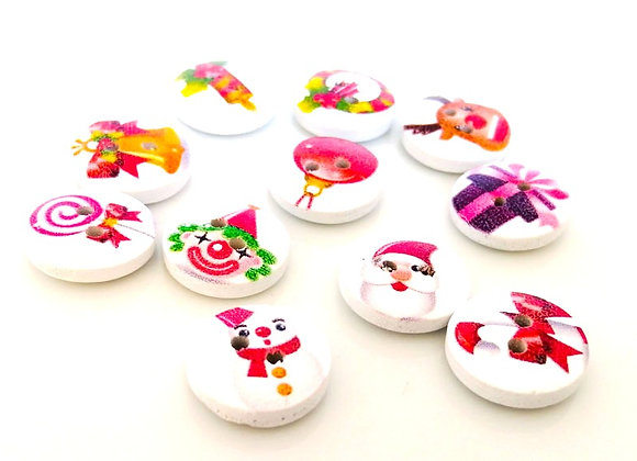 Wooden Christmas Theme Buttons Mixed Pack of 20
