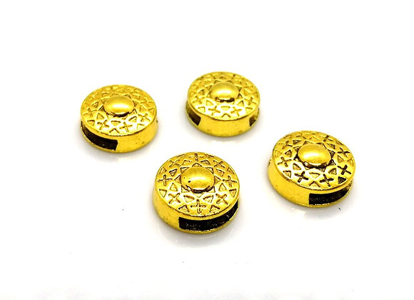 Tibetan Style Metal Round Patterned Slider Bead Antique Gold - 10mm Hole
