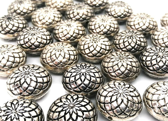 Tibetan Style Antique Silver Patterned Disc Bead 18mm