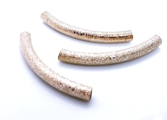Metal Curved Noodle Tube Bead 45mm - Brushed Champagne