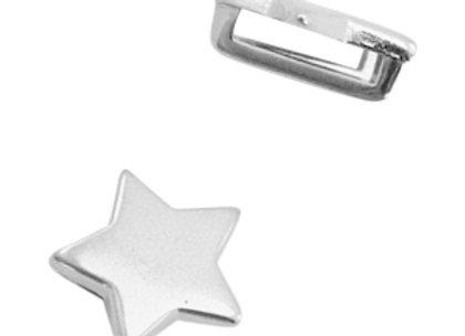 DQ Metal Slider Bead - Star - 10mm Hole - Silver