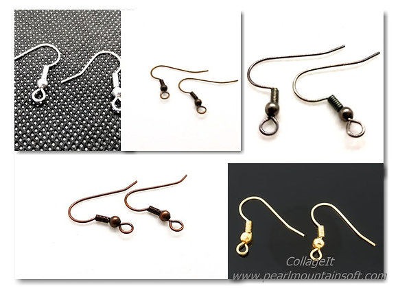Fish Hook Earwires - Pack of 10 Pairs - Choice of Colours