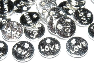 Round Metal Love Charm Pack of 10