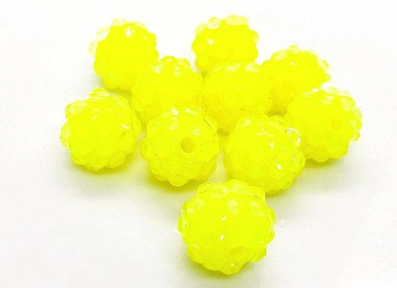 Resin Rhinestone Disco Ball Shamballa Bead 12mm - Yellow or Green
