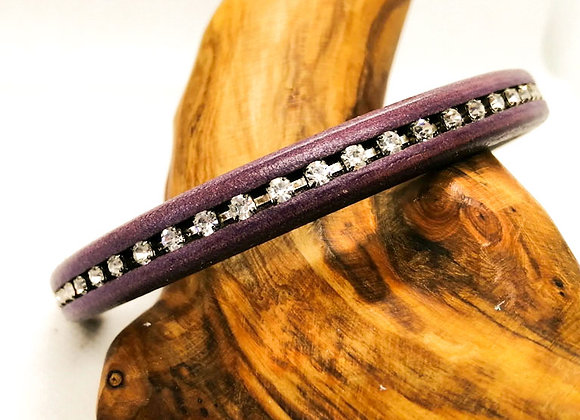 Regaliz® Licorice Leather with Crystals 10x6mm - Dark Lilac