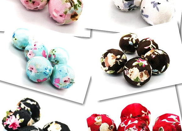 Woven Floral Cloth Round Beads 20mm - Choice of Colours