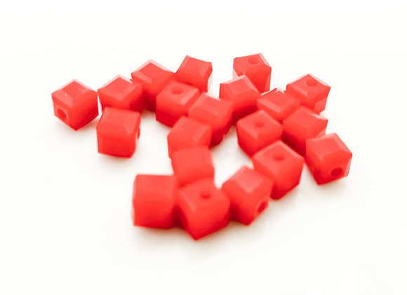 Glass Cube Beads 4mm - Opaque Red Pack of 20