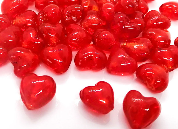 Glass Heart Bead - Red 12mm