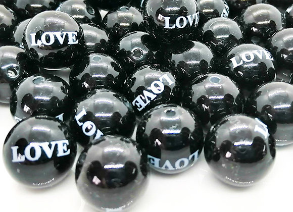 Round black white love acrylic bead