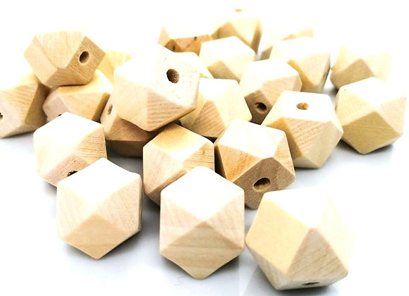 Unfinished Natural Hexagon Wooden Bead Pack of 10
