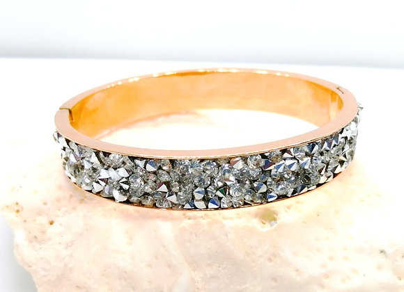 Stainless Steel Rose Gold Crystal Bangle Kit - Choice of Inserts