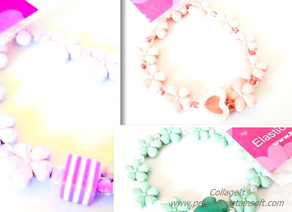 Elastic Bracelet Kit - Flowers - Blue, Pink or Lilac
