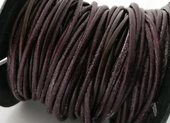 Round Indian Leather - Weathered Dark Brown 2mm