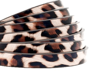 PU Faux Leather Leopard Print Vintage Pink Flat Leather 5mm