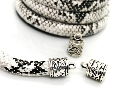 Antique Silver Tibetan Style Barrel Cord End 6mm Hole - Pack of 2