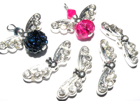 Sparkle Rhinestone Angel Wing Beads 21mm - Bright Silver