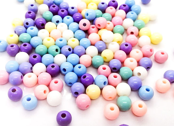 Small Round Beads 8mm - Pastel Mix - Pack of 37