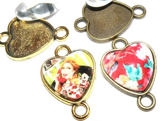 Heart Picture Frame Link Connector Set Antique Gold