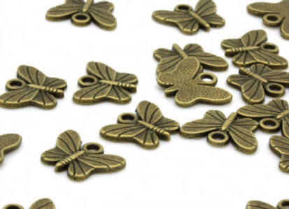 Small Butterfly Charm - Antique Gold