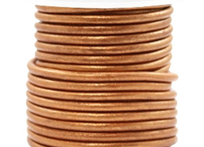 Designer Quality Copper Gold Metallic 3mm Round Leather