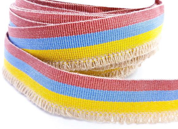 Grosgrain Flat Striped Ribbon Fringe