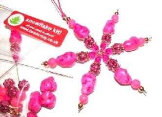 "Christmas Pink Turquoise Nugget Snowflake Kit 4.5"""