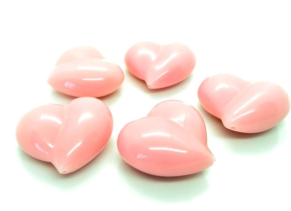 Large Opaque Pink Heart Bead
