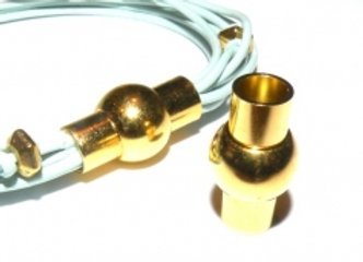 Round Glue-In Magnetic Clasp Gold - 5mm Hole