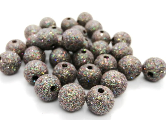 Round Beads 14mm - Grey with Multicolour Glitter Sparkle
