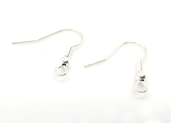 Silver Plate Fish Hook Earwires Pack of 10 Pairs