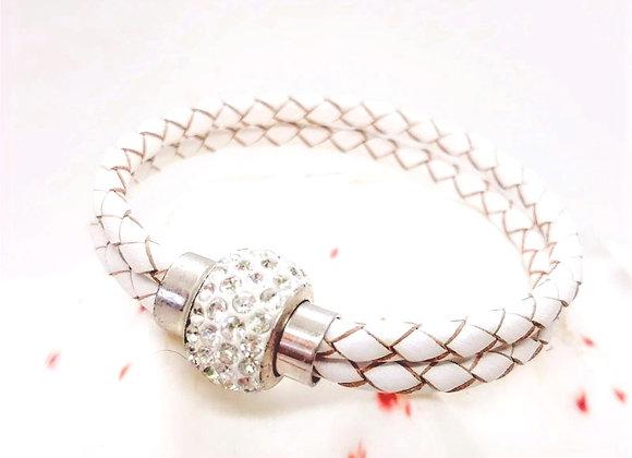 Leather & Metal Bracelet Sz Small