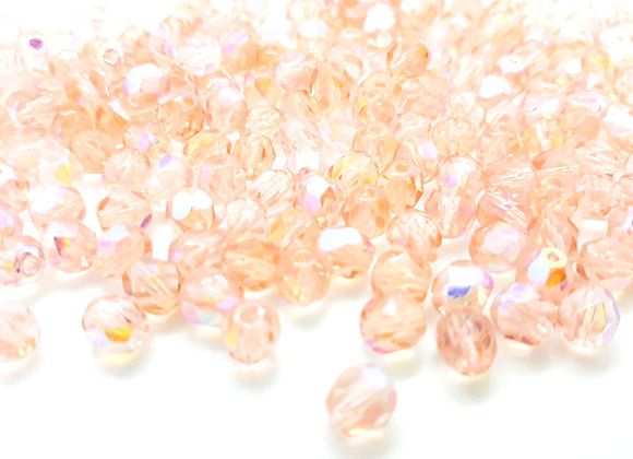 Preciosa Czech Fire Polished Bead AB Pink Pack of 50