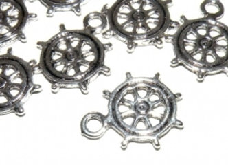Mini Ship's Wheel Metal Charm