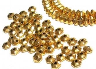 Tibetan Style Hexagon Spacer Bead 3x5mm - Gold - Pack of 25