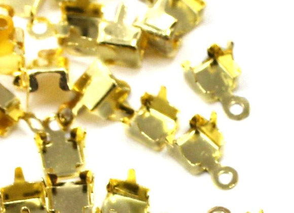 Rhinestone cupchain end fittings, gold, for jewellery making